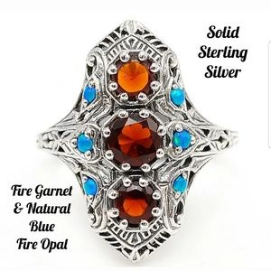 NEW Fire Garnet Fire Opal Sterling Silver Ring 9